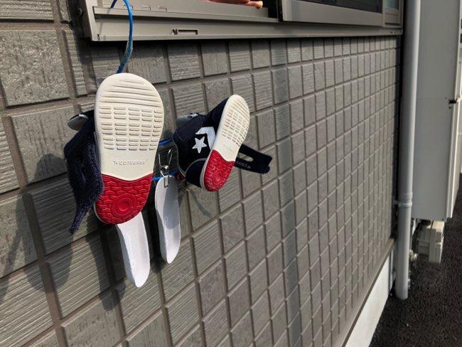 子ども靴を洗った