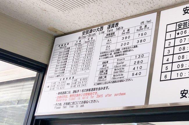 安芸津フェリーの料金表