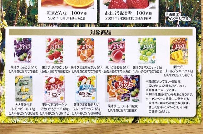 果汁グミキャンペーン対象商品